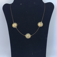 Khaki and gold simple beaded necklace