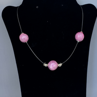 3 Bead Pink and Silver necklace
