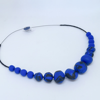Blue and Black handmade beaded necklace