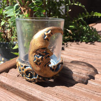 Moon face glass votive candle holder