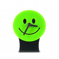 Green Smiley Face Emoji Desk Clock
