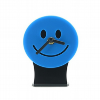 Blue Smiley Face Emoji Desk Clock
