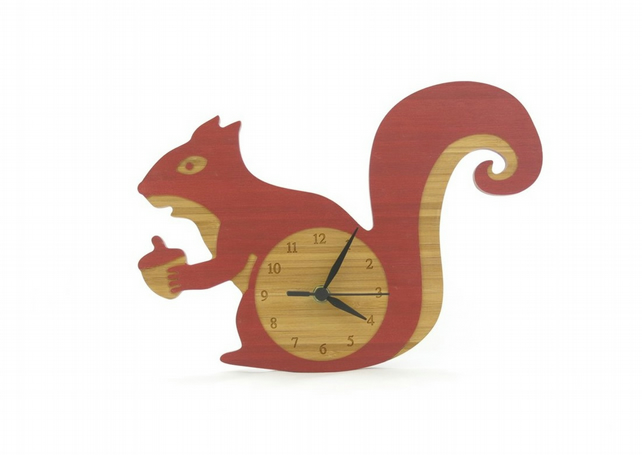 Squirrel Clock - Barn Red