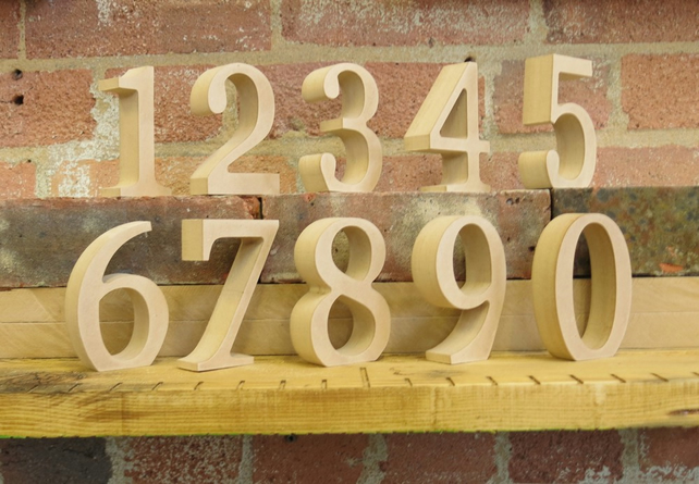 "10cm 4"" Table Numbers wooden free standing for DIY craft for weddings and events"