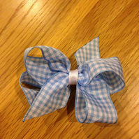 Blue gingham check ribbon school hair bow on crocodile clip