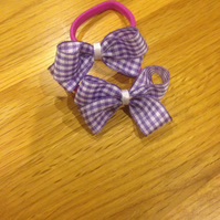 Set of two purple gingham check ribbon school hair bows on snag free elastic