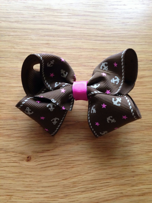 Hot pink and Chocolate brown hair bow
