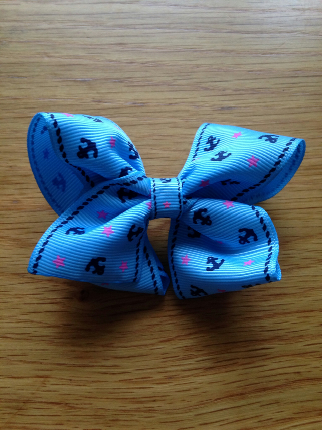 Sky blue nautical hair bow