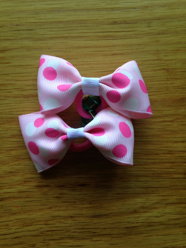 Pink polka dot hair bow set