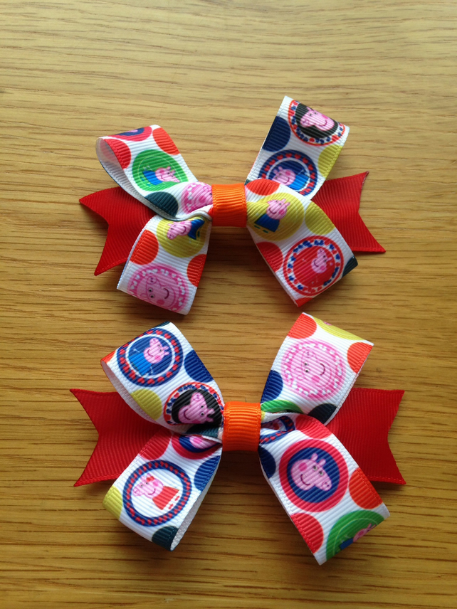 Peppa Pig hair bow clip set