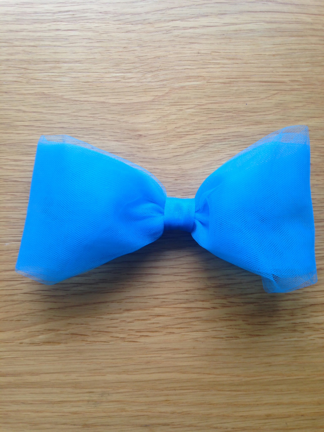 Electric blue tulle hair bow