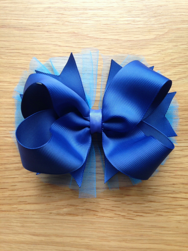 Boutique ribbon and tulle hair bow