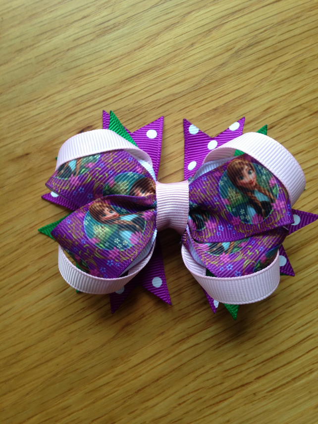 Frozen's Anna hair bow clip purple and green
