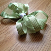 Lime green ribbon hair bow