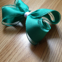 Emerald green ribbon hair bow
