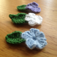 Crochet flower hair clip set of three lilac, pale blue and white