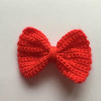 Red crochet hair bow