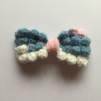 Blue, cream and pink bobble crochet hair bow