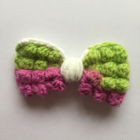 Purple, green and cream crochet bobble hair bow