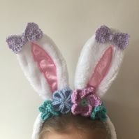 Crochet flower Easter bunny ears pastels