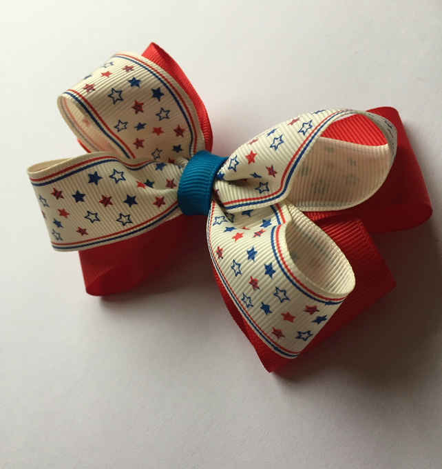 Red white and blue patriotic boutique hair bow
