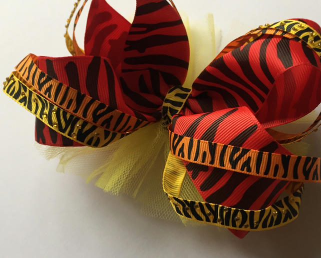 Funky jungle diva boutique hair bow