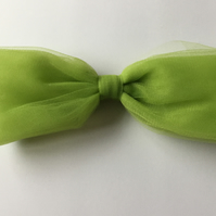 Lime green large tulle hair bow