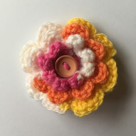Crochet flower hair clip multi colour