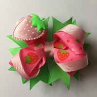 Summer strawberry hair bow clip
