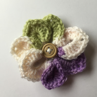 Crochet pointed petal flower hair clip multi colour