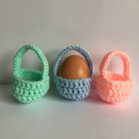 Crochet Easter egg baskets set of three pastels