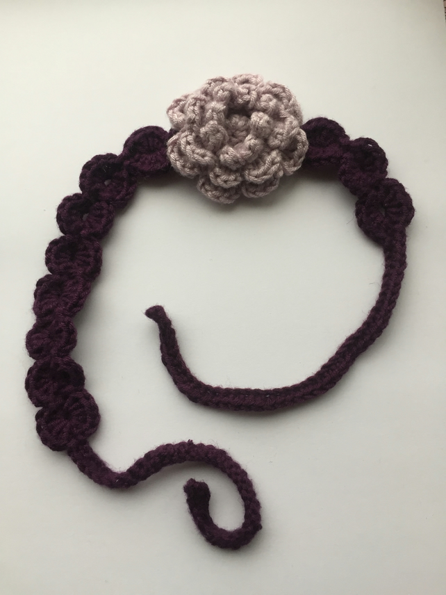 Baby crochet flower headband in lilac and purple 0-2 years
