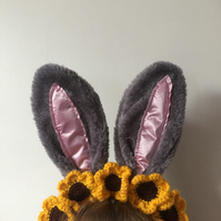 Easter bunny ears with sunflowers