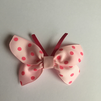 Candy pink butterfly hair clip