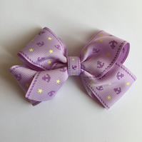 Lilac nautical themed ribbon hair bow