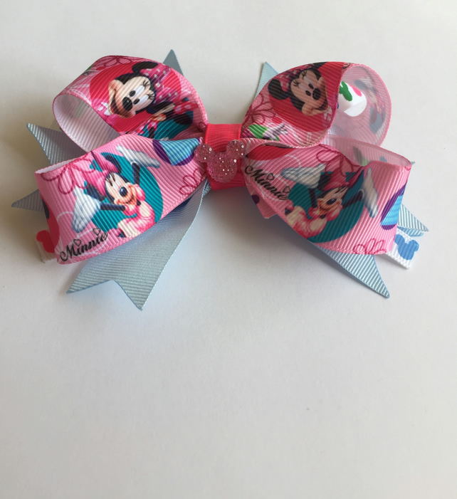 Minnie Mouse stacked hair bow pink