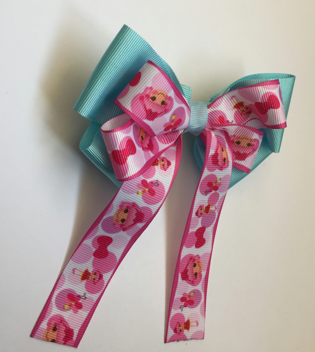 Lalaloopsy stacked hair bow blue and pink