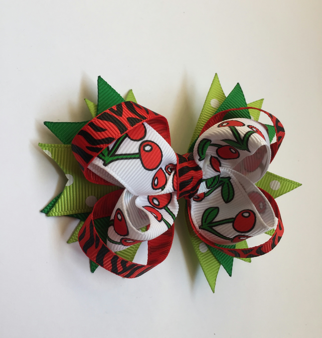 Stacked grosgrain ribbon hair bow funky red and green