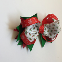 Christmas grosgrain ribbon hair bow
