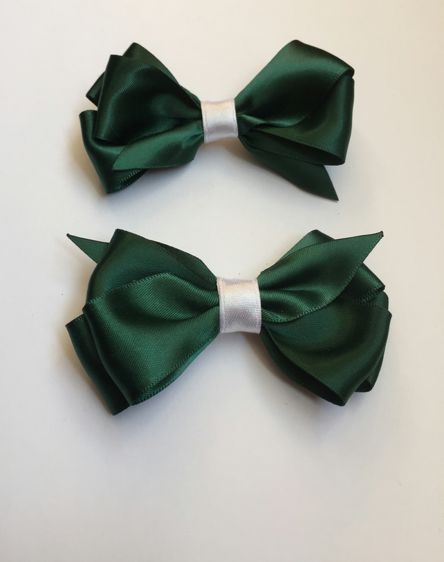 Bottle green satin hair bow set