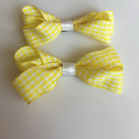 Yellow gingham ribbon hair bow clip set