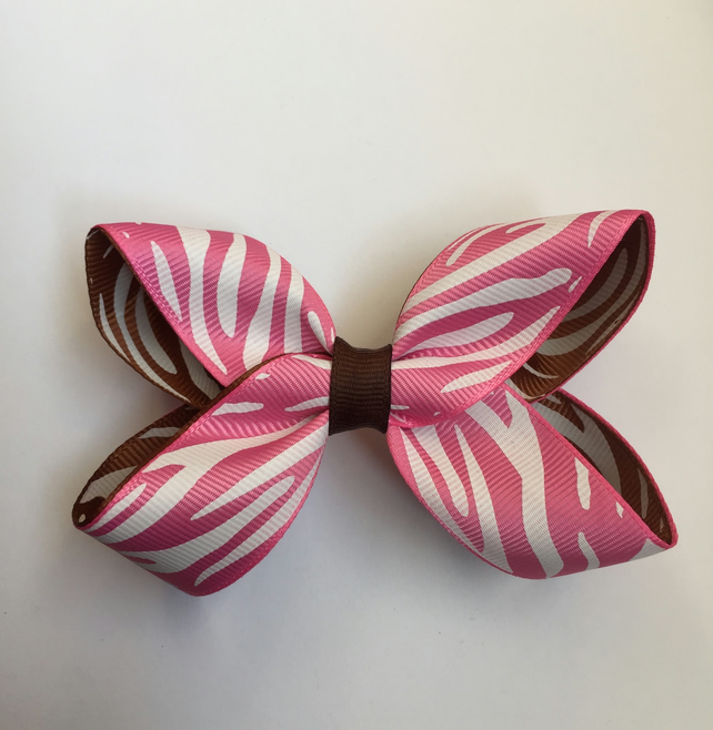 Animal print pink and brown boutique bow
