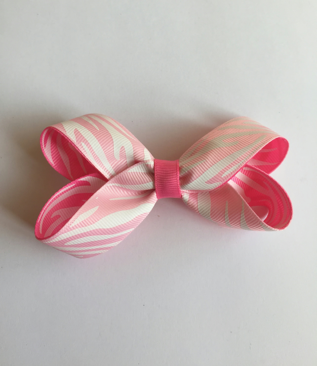 Animal print boutique bow pink