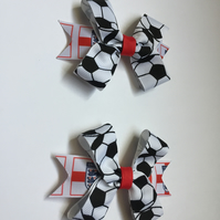 Football hair bow clip set