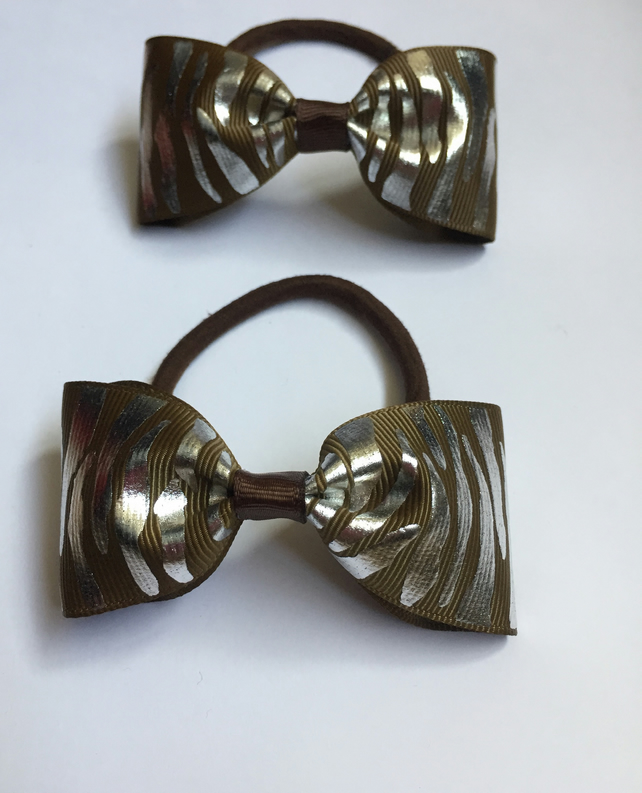 Set of two brown zebra hair bows