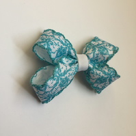 Sky blue and white damask hair bow