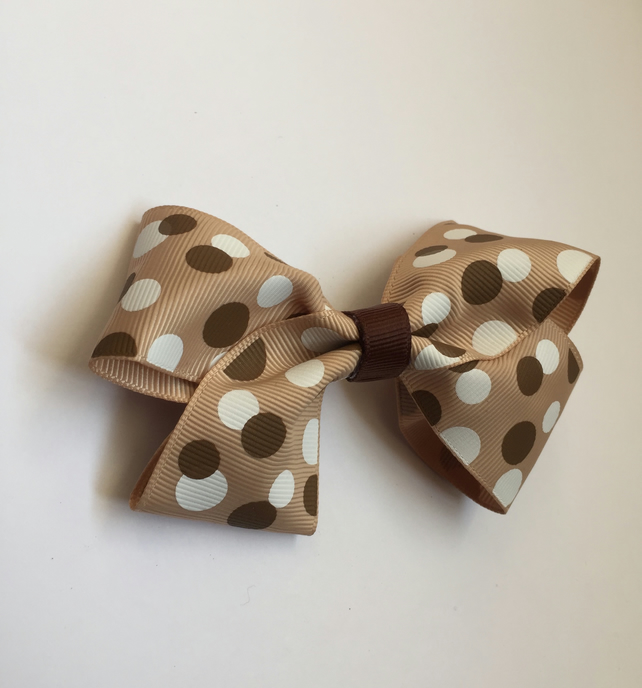 Coffee polka dot hair bow