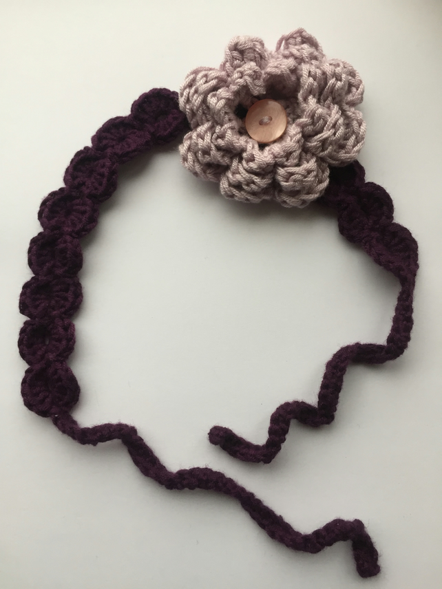 Crochet girls flower head band