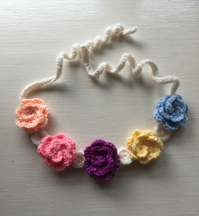 Crochet rose headband