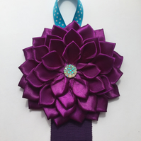 Hair clip holder with satin flower in purple